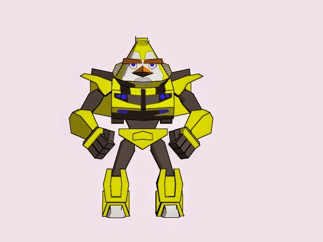 Angry Birds Transformers - Yellow Bird Bumble Bee Papercraft