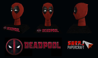 Deadpool Papercraft - Head with Stand